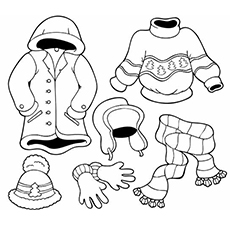 Winter Wears for Season Coloring Sheet