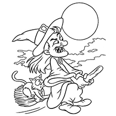 Witch Flying on Broom to Color