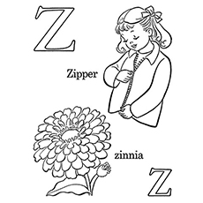 Letter Z for Zipper and Flower Zinnia Coloring Pages