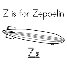Z Is For Zeppelin Zoo Coloring Pages