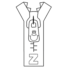 Letter Z for Zip Coloring Sheet