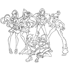 All Fairies Winx Club Picture Coloring Page