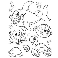 Coloring Pages Of Octopus With Other Creatures Of The Sea
