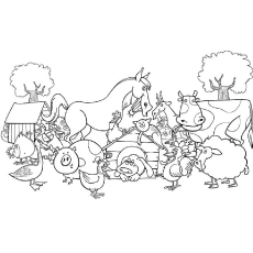 Gang of Naughty Animals at the Farm Printable to Color
