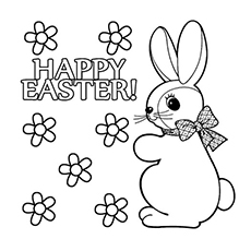 Easter Bunny Wishing Happy Picture To Color