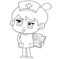 Free Printable Coloring Pages of Nurse taking details of Patients