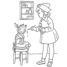 Nurse Feeding The Cat Coloring Pages