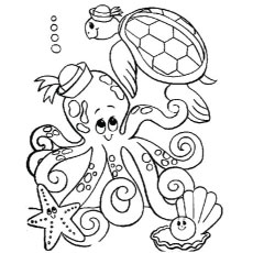 free printable coloring pages of octopus with other sea turtle