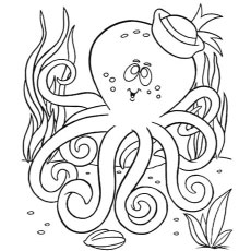 Coloring Pages Octopus with Sailor Hat on Head