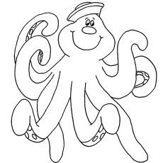 Funny Smiling Octopus Coloring Pages To Print