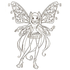 Stars on Wings of Winx Club Picture to Color