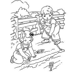 two kids playing in farm pic to color - Farm Coloring Pages