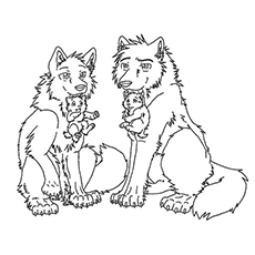 wolves and puppies coloring pages