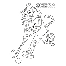 Tiger Playing Hockey Printable Coloring Page for Kids