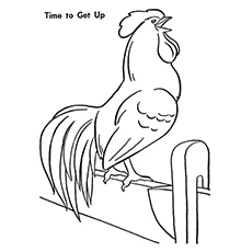 time to get up rooster - Rooster Coloring Page