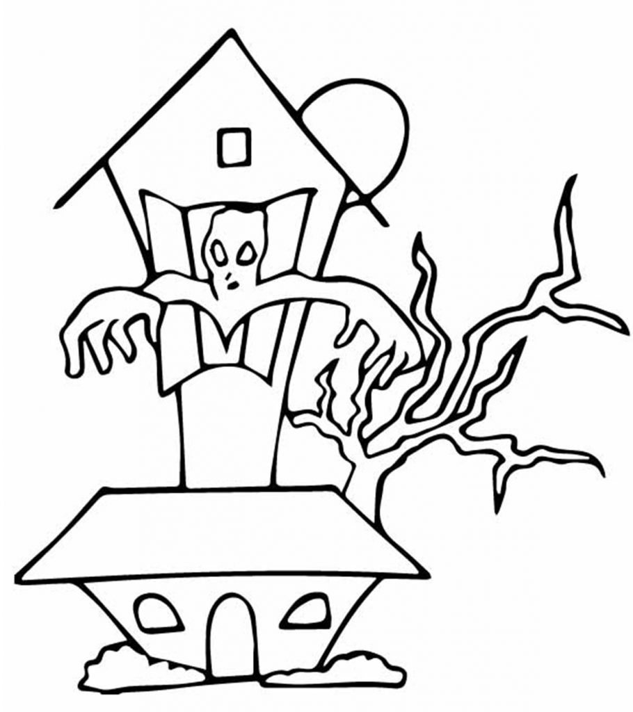 Top 25 Free Printable Haunted House Coloring Pages Online