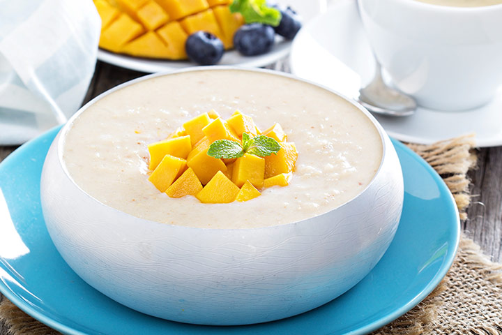Tropical mango rice pudding