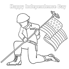US Soldier with Flag In Hand Coloring Sheet