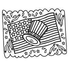 USA Flag and Hat Coloring Pages
