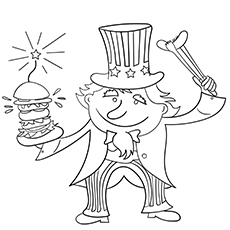 Coloring Image of Uncle Sam on 4th July with Burger