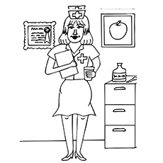 Nurse holding Patients details and Medicines Coloring Pages