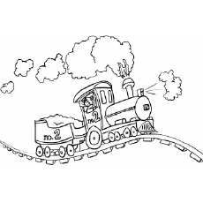 Versatile Train on Track Up and Down Coloring Page