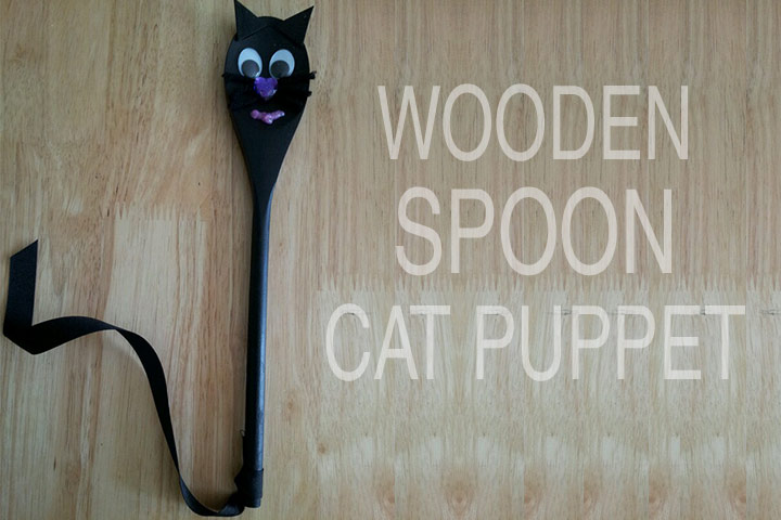 Halloween Crafts For Toddlers - Wooden Spoon Cat Puppet