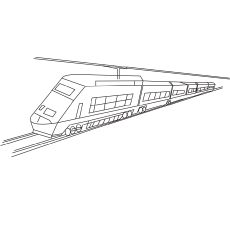 Zooming Passenger Train coloring to print