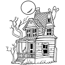 a ghosts in a haunted house - Halloween House Coloring Pages
