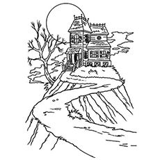 a haunted house on a hill - Halloween House Coloring Pages