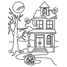 a haunted mansion - Halloween House Coloring Pages