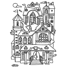 a old haunted mansion - Halloween House Coloring Pages
