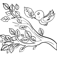 Bird Flying in Autumn Coloring Page
