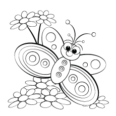 Butterfly and Daisy Coloring Pages