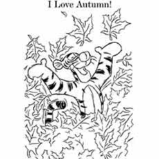 Cartoon Tigger Loves Autumn Pic to Color For Kids