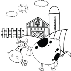 Cow at its Farm Coloring Page