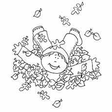 Hanna Playing With Leaves In Fall Season Coloring Sheets