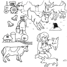 Coloring Page of Family who is Working in their Farm