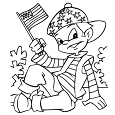 Fourth July Kid with Flag Coloring Page