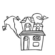 ghost andhaunted house halloween - Halloween House Coloring Pages