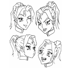 Girl Face Shows Different Emotions Coloring Pages