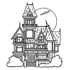 haunted house coloring page beautiful