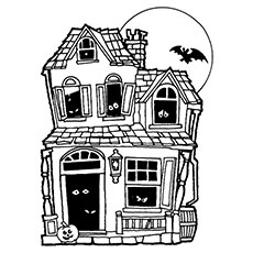 haunted house coloring page nice