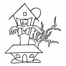 haunted house halloween free color pages for kids - Free Color Pages For Kids