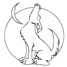 Howling Wolf Moon Coloring Pages