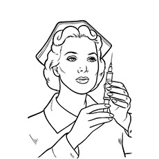 Home Nurse on Duty with Syringe Coloring Page