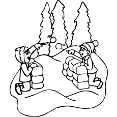 Coloring Page of Playing with Snow