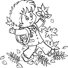 Schoolboy Enjoying Autumn Leaves Coloring Page