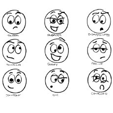 Smiley face With Different Emotions Colouring Sheet