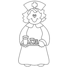 Smiling Nurse Carrying Medicines Coloring Pages